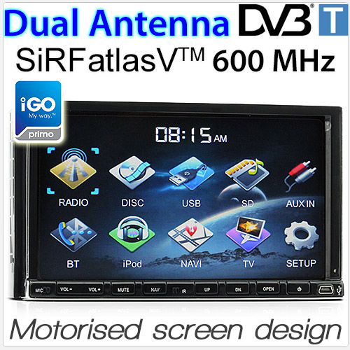 "7"" Double-DIN car DVD player with GPS and DVB-T"