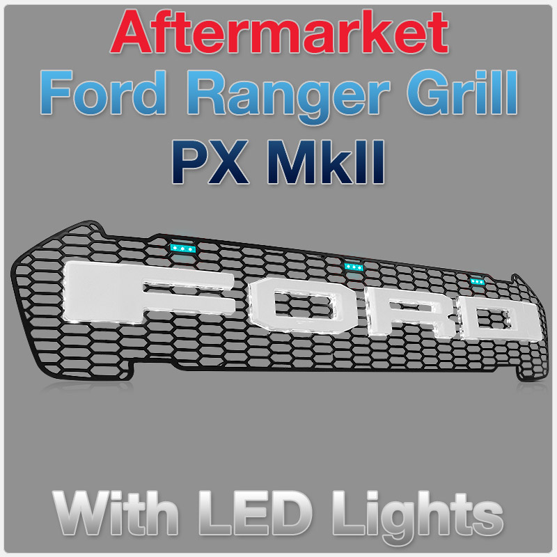 Ford Ranger PX MK2 Glossy White Front Grill Grille Raptor Styled With Blue LED T6