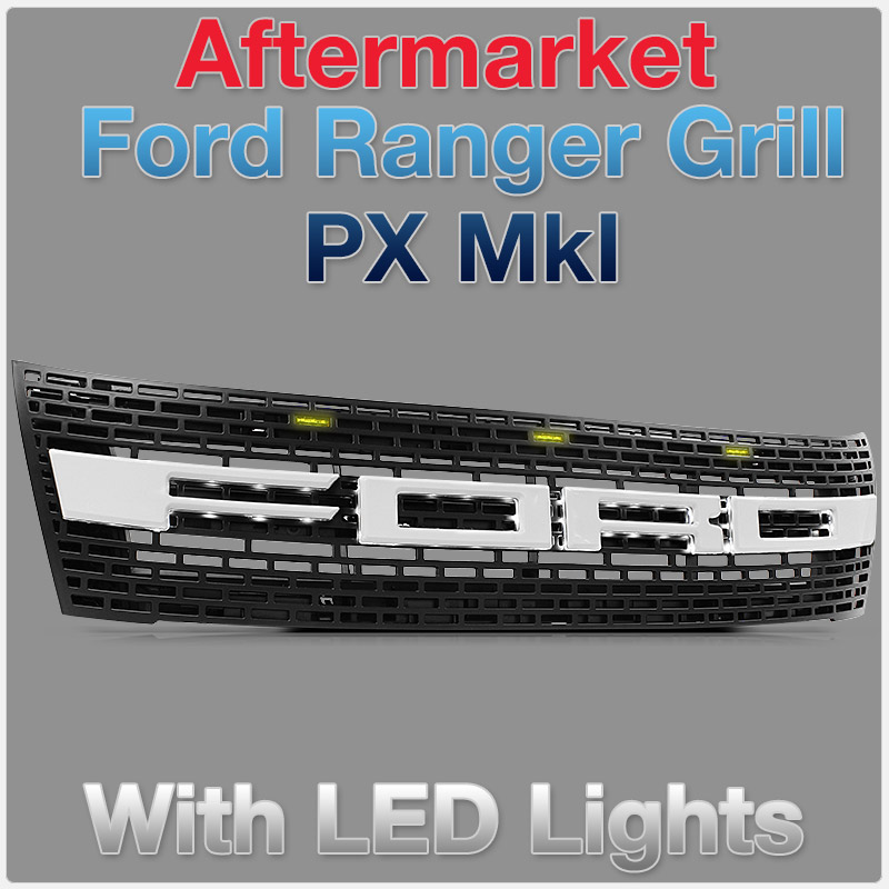 Ford Ranger PX MK1 Glossy White Front Grill Grille Raptor Styled With Amber LED T6