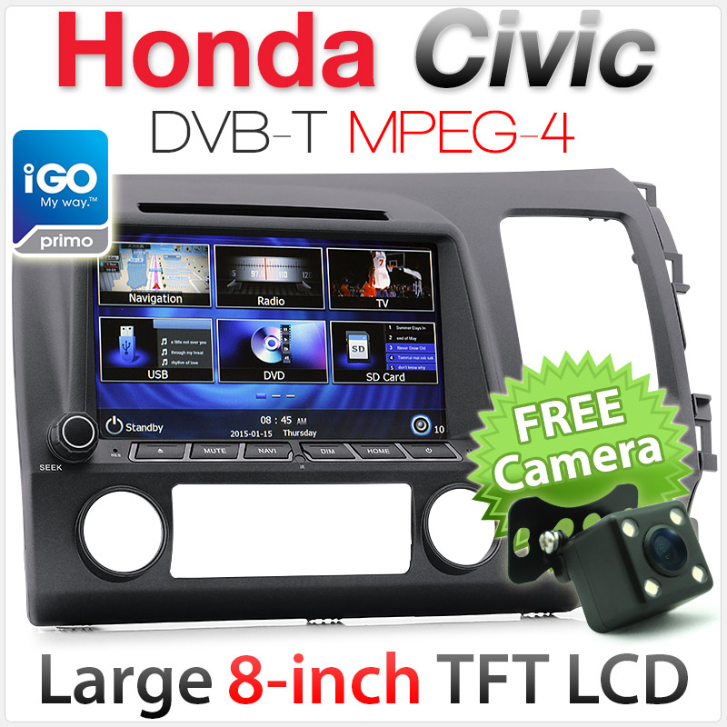 "8"" Honda Civic (8th Gen) car DVD player with GPS and DVB-T"
