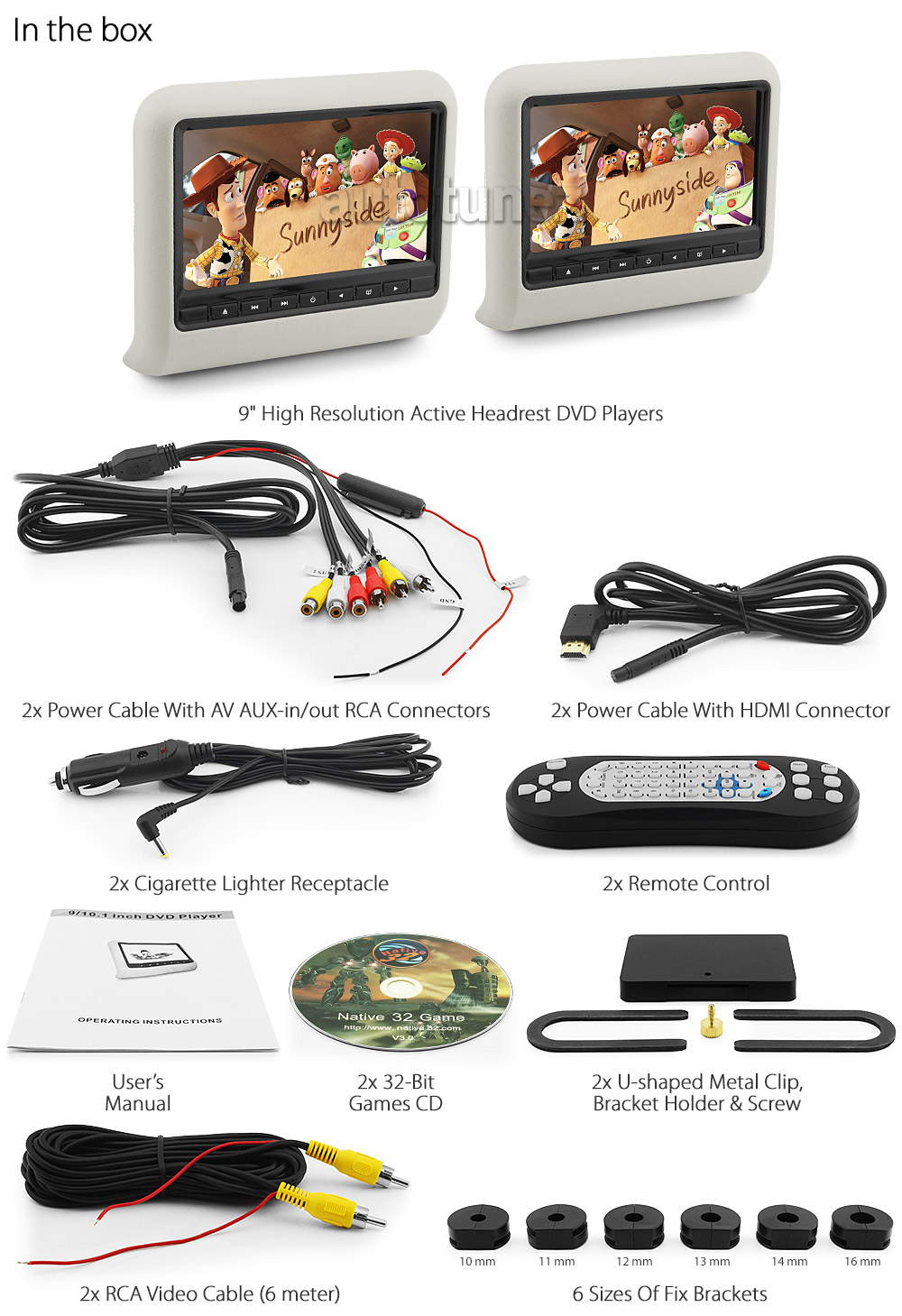HD02 Easy-to-install 9' high resolution superior quality active headrest DVD USB SD player with 32-bit game Free wireless IR headphones 12V cigarette lighter receptacle power source controls