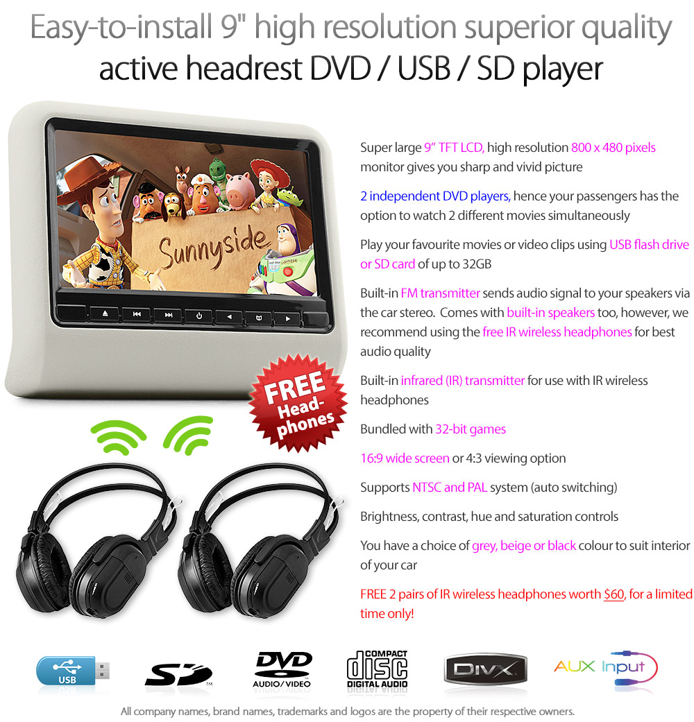 HD02 Easy-to-install 9' high resolution superior quality active headrest DVD USB SD player with 32-bit game Free wireless IR headphones 12V cigarette lighter receptacle receptacle power source