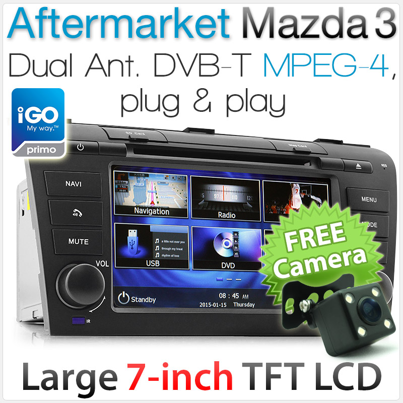 "7"" Dedicated Mazda 3 car DVD player with GPS and DVBT"