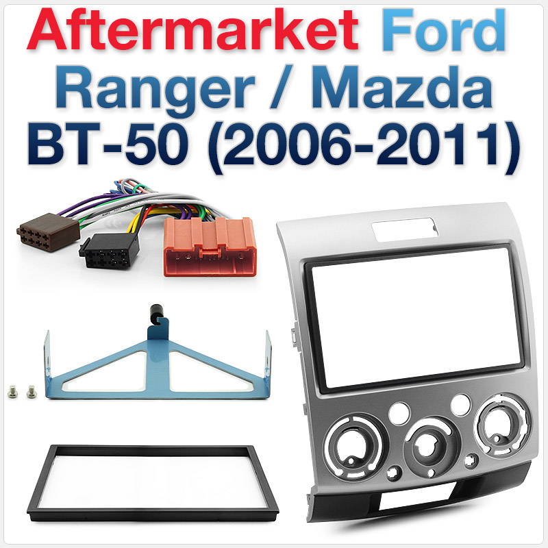 Ford Ranger and Mazda BT-50 Double-DIN Fascia Kit and ISO Wiring Harness