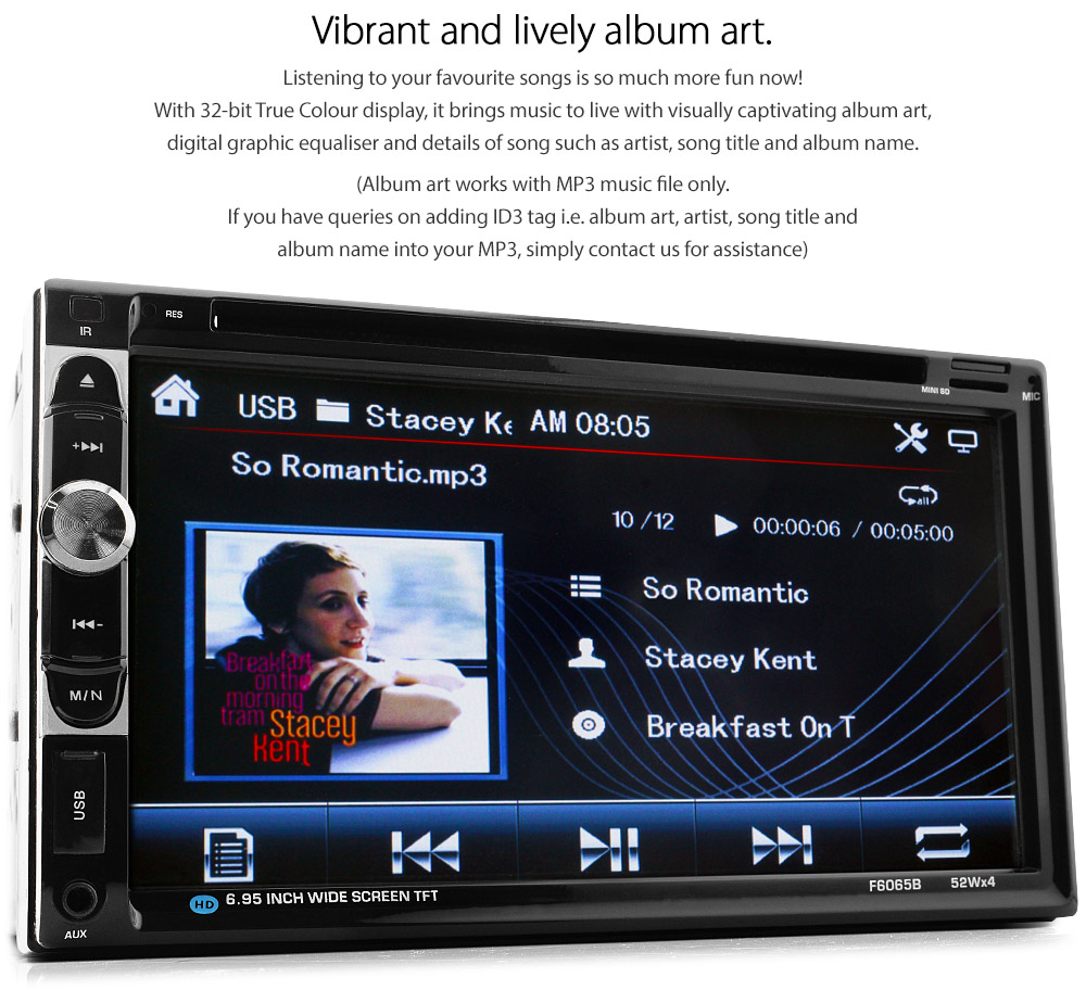 NS16DVD 7-inch Double DIN Direct Loading design car DVD USB SD player radio stereo head unit details Aftermarket External and Internal Microphone Bluetooth RMVB variable colour illumination 720p HD high definition MP3 Album Art ID3 Tag