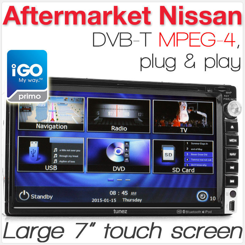 "7"" Nissan car DVD player with GPS and DVB-T"