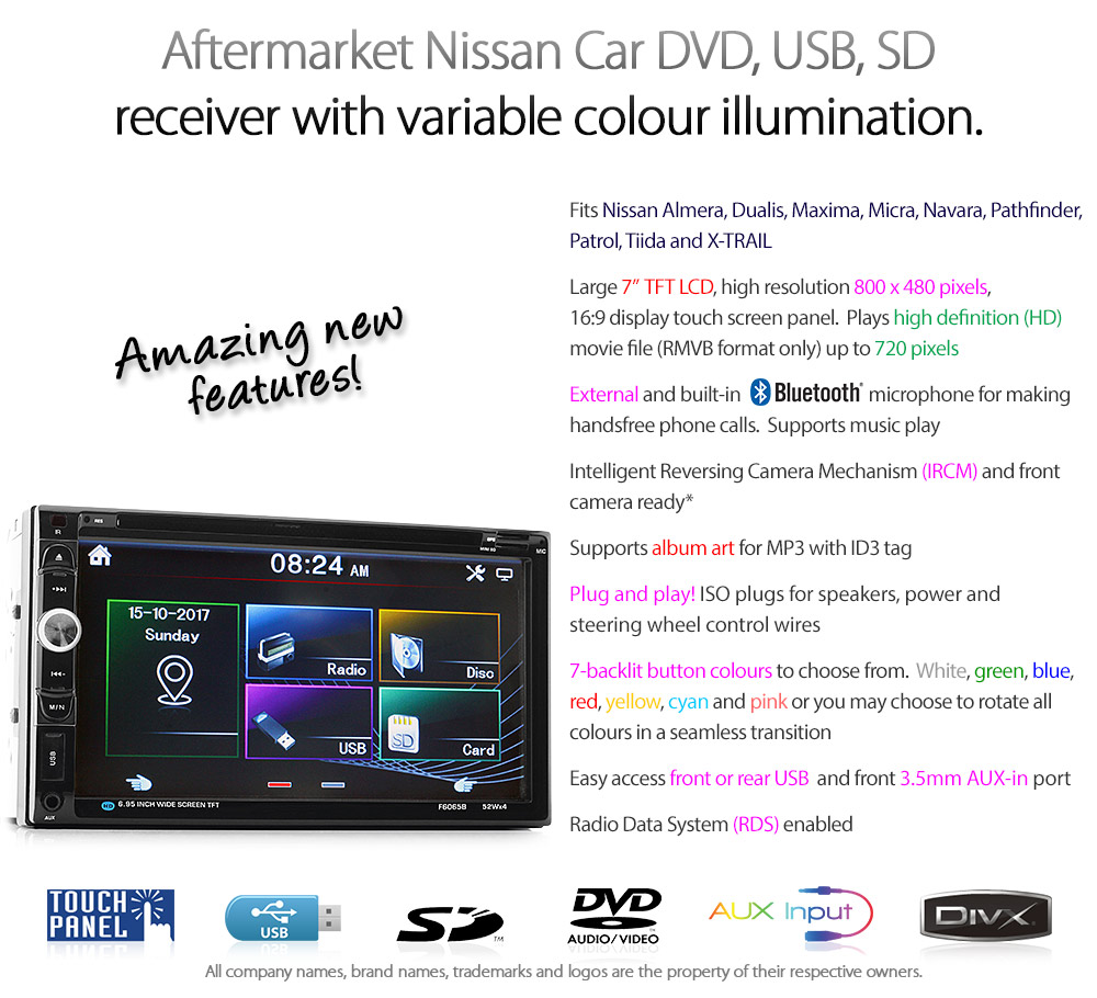 NS08DVD 7-inch Double DIN Direct Loading design car DVD USB SD player radio stereo head unit details Aftermarket External and Internal Microphone Bluetooth RMVB variable colour illumination