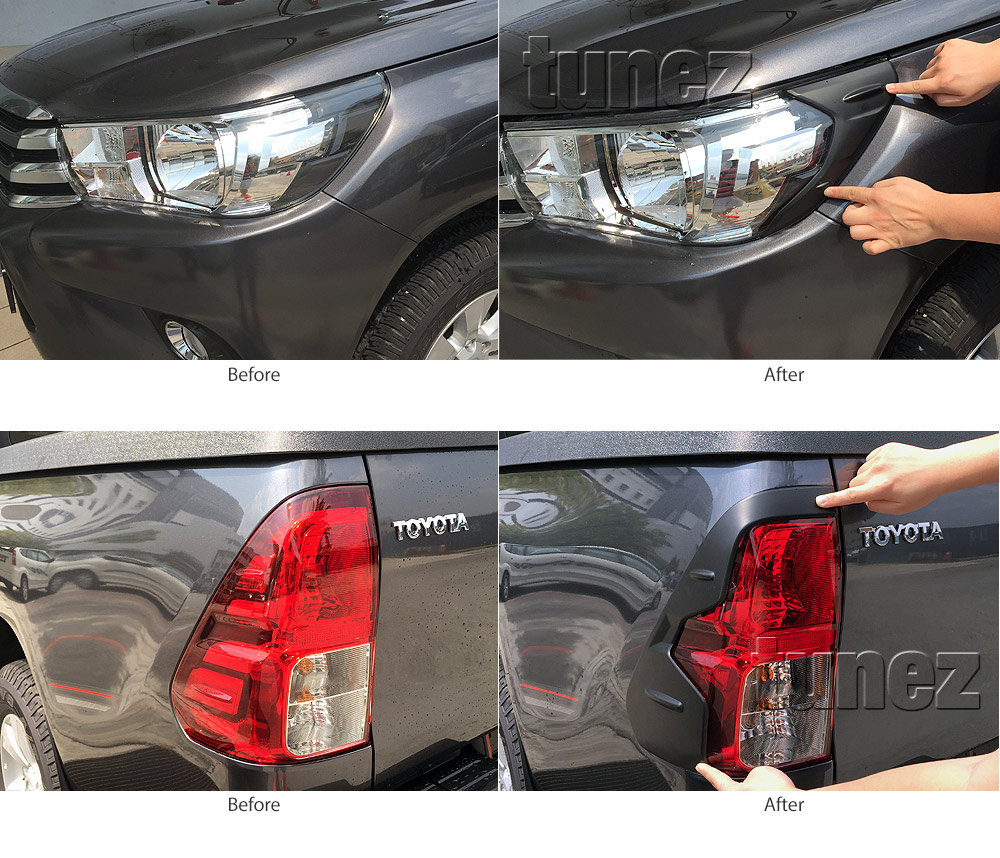THM01 Toyota Hilux 8th Generation AN120 AN130 GUN1 Gen Matte Matt Black Tail Rear Lamp Light Lights Cover Frame Mask 3M For Car Truk Taillights Headlamp Rear Lamp Light Aftermarket Pair 2016 2017 2018 SR SR5 Workmate Active Icon Invincible X Installation Post