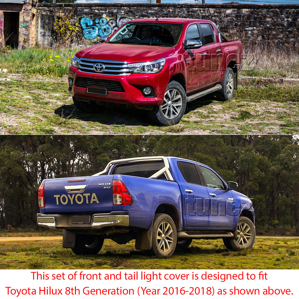 THM01 Toyota Hilux 8th Generation AN120 AN130 GUN1 Gen Matte Matt Black Tail Rear Lamp Light Lights Cover Frame Mask 3M For Car Truk Taillights Headlamp Rear Lamp Light Aftermarket Pair 2016 2017 2018 SR SR5 Workmate Active Icon Invincible X