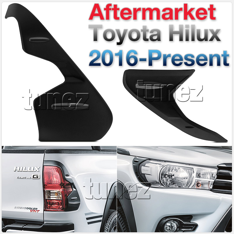 THM01 Toyota Hilux 8th Generation AN120 AN130 GUN1 Gen Matte Matt Black Tail Rear Lamp Light Lights Cover Frame Mask 3M For Car Truk Taillights Headlamp Rear Lamp Light Eyelid Aftermarket Pair 2016 2017 2018 SR SR5 Workmate Active Icon Invincible X