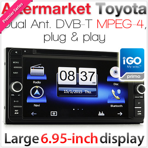 "6.95"" Dedicated Toyota car DVD player with GPS and DVB-T (iPhone 6 Plus compatible)"