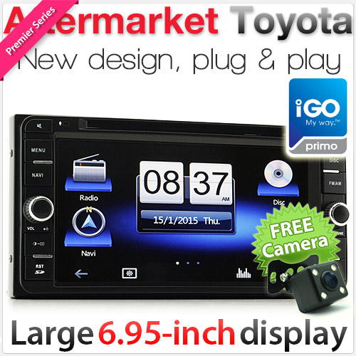 "6.95"" Dedicated Toyota car DVD player with GPS (iPhone 6 Plus compatible)"